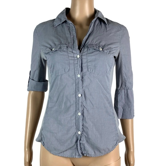 James Perse Tops - James Perse Contrast Panel Button Front Shirt
